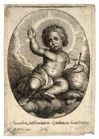 The infant Jesus seated on clouds