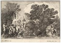 Five satyrs and two nymphs, after Elsheimer