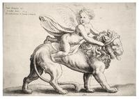 Cupid on a lion, after Giulio Romano