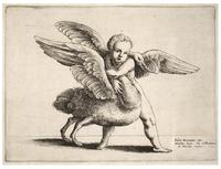 Cupid and the swan, after Giulio Romano