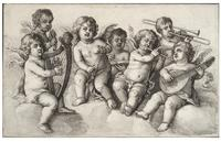 Concert of cherubs in the clouds