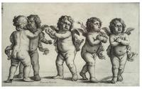 Four cherubs and a small boy standing