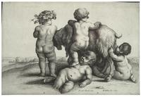 Four boys, a young satyr, and a goat