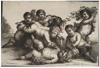 Three boys, two satyrs and a goat