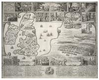 Map of England and view of Prague with scenes of the beginning of the Civil War