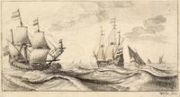 Two warships under sail