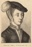 Young woman with a cap and feather