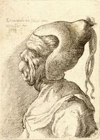 Woman with deformed mouth and conical hat