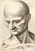 Bald elderly man looking down