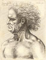 Profile of naked man with grim expression and long hair