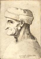 Old man with long pendant nose and prominent chin