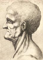 Old man, clean shaven, prominent chin and a sinewy neck