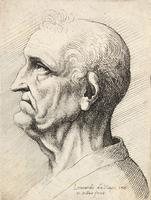 Old man with pointed nose and prominent chin
