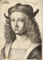 Youth with long wavy hair and cap