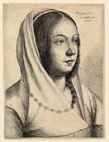Young woman with scarf on her head, after Bonsignori