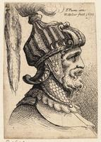 Helmet with long plume and chin strap