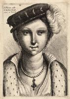 Young woman with a feathered hat