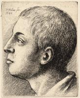 Head of a young man looking up