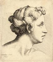 Woman with a bound tress of hair