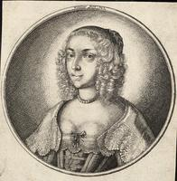 Woman with fringe and curly, plaited hair