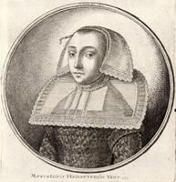 Woman with a stiff patterned collar