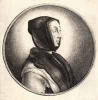 Woman wearing a dark hood and fur stole