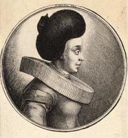 Woman with large fur cap and ornament on back