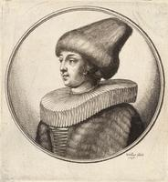 Woman with high-peaked fur cap