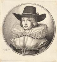Woman with high crowned hat