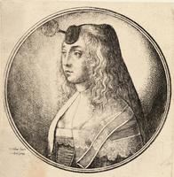 Woman with wavy hair and veil