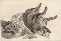 Three boars and a deer