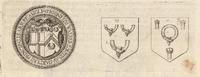 A seal and two shields with the Garter